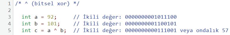 ^ bitsel xor 2. kullanım örneği