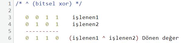 ^ bitsel xor kullanım örneği