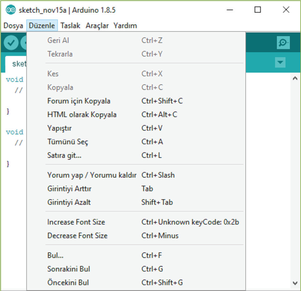 Arduino IDE düzenle menüsü
