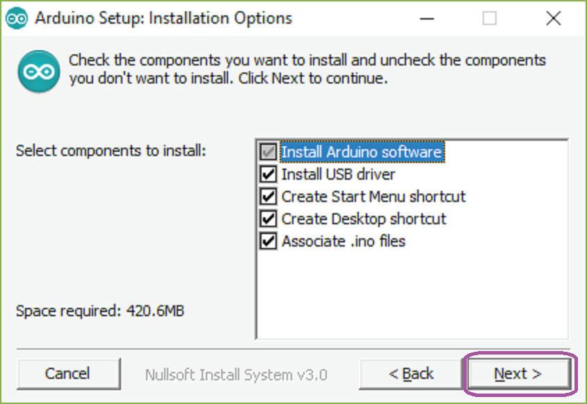 Arduino IDE kurulum seçenekleri