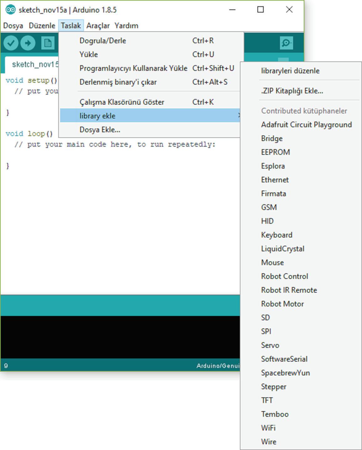 Arduino IDEde kütüphane ekleme