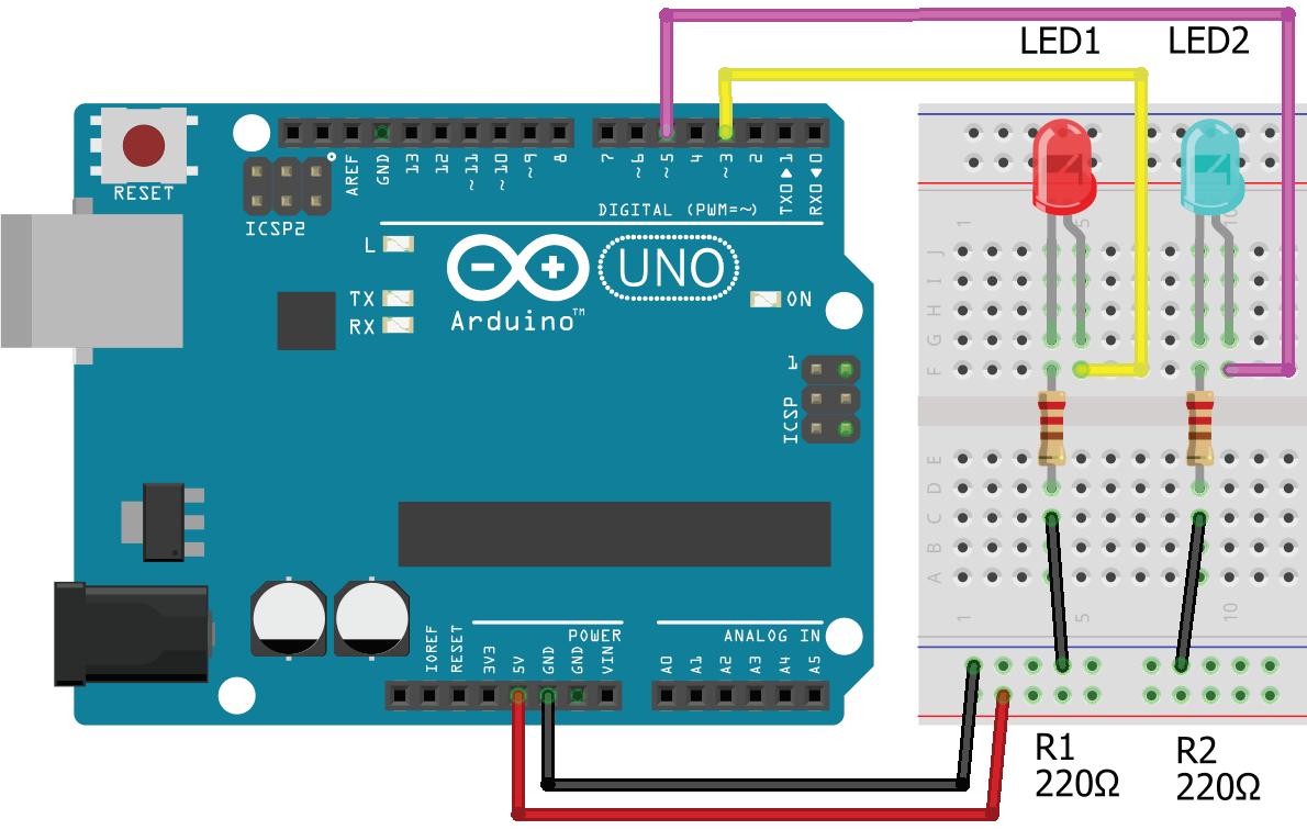 Arduino UNO ile LED uygulaması Breadboard çizimi