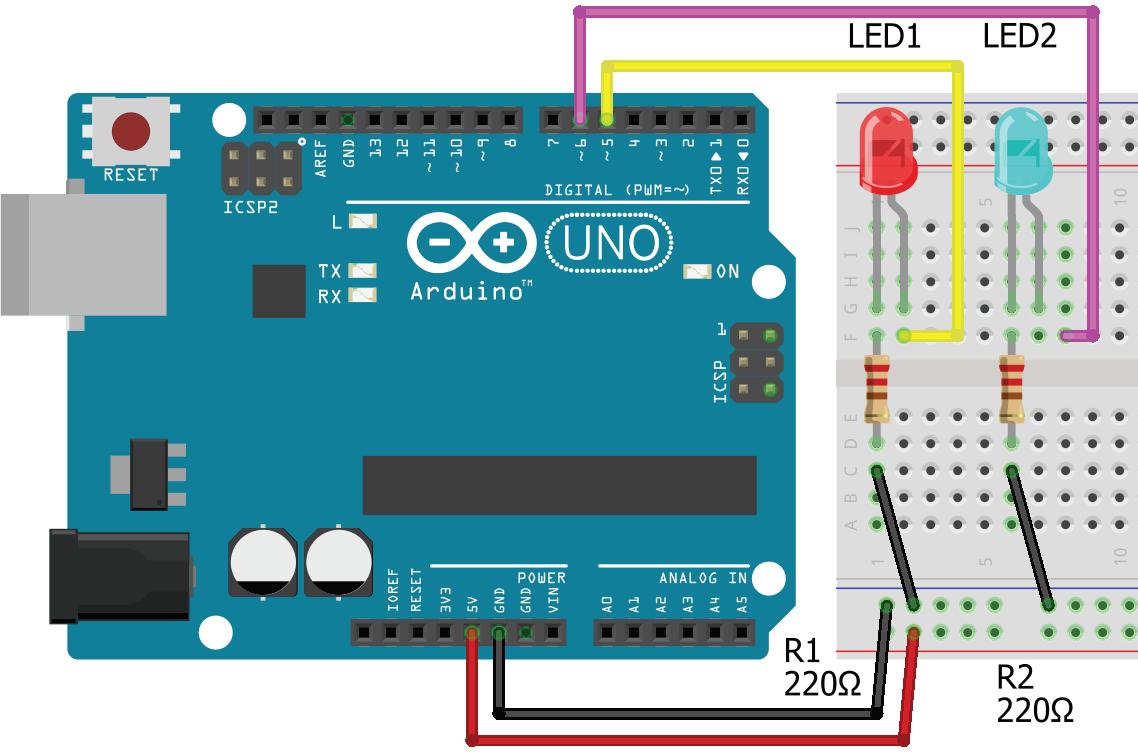Arduino UNO ile PWM uygulaması Breadboard çizimi