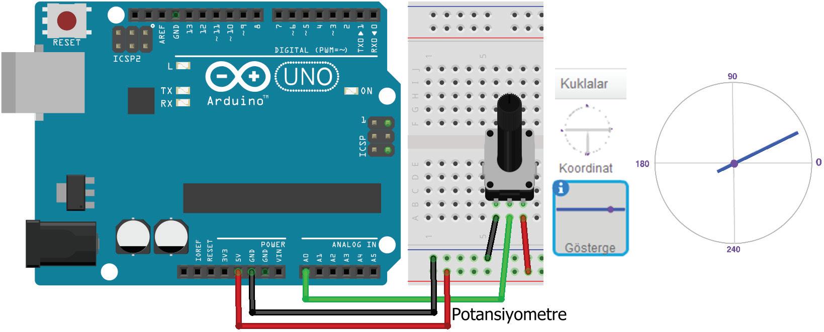 Arduino UNO ile Potansiyometre uygulaması Breadboard çizimi ve ekran görüntürleri