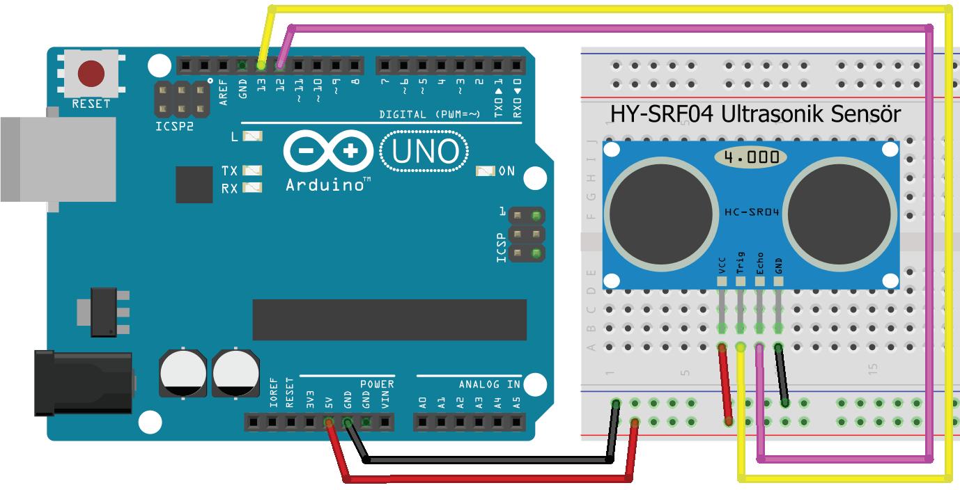 Arduino UNO ile Ultrasonik Sensör uygulaması Breadboard çizimi