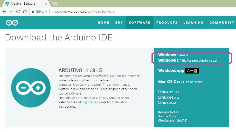 Arduino UNO indirme ekranı