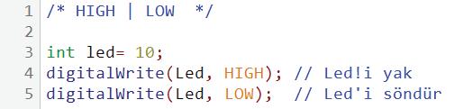 HIGH LOW kullanım örneği