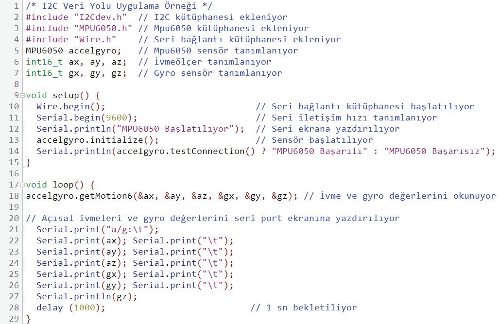 I2C veri yolu uygulama örneği