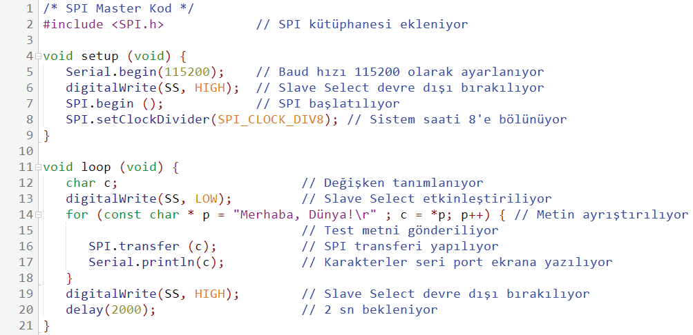 SPI veri yolu uygulaması master örneği