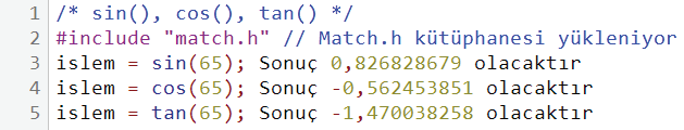 Trigonometrik işlev örnekleri