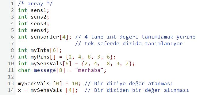 array kullanım örneği