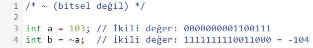 bitsel değil 2. kullanım örneği