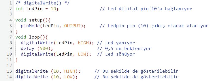 digitalWrite kullanım örneği