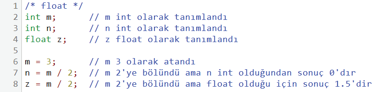 float kullanım örneği