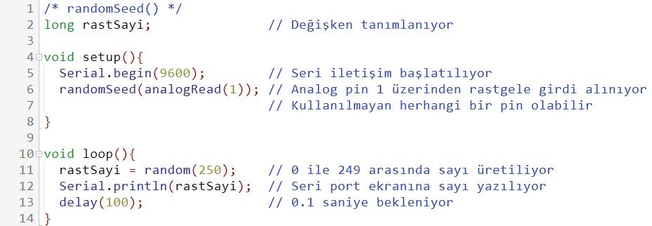randomSeed kullanım örneği
