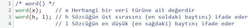 word kullanım örneği 1