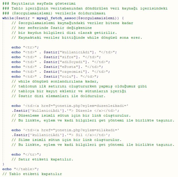 2. Kayıtların sayfada gösterimi2