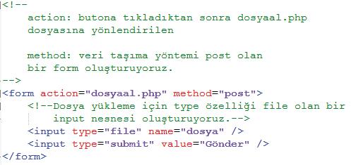 HTML Kodları dosyayukle.php