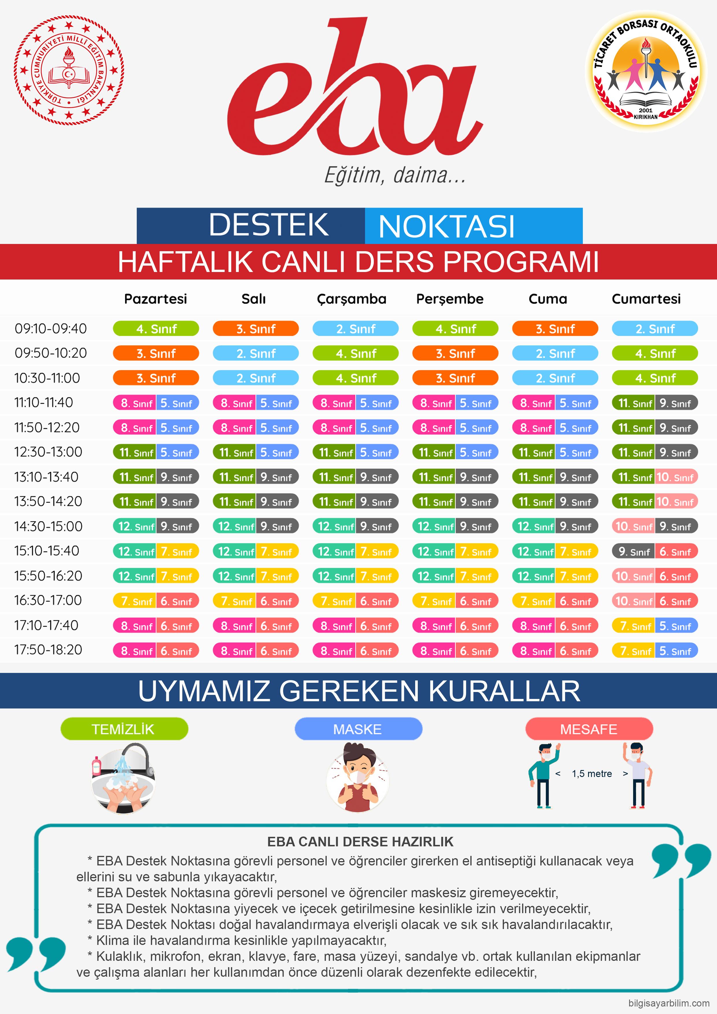 EBA Destek Noktasi Haftalik Canli Ders Programi