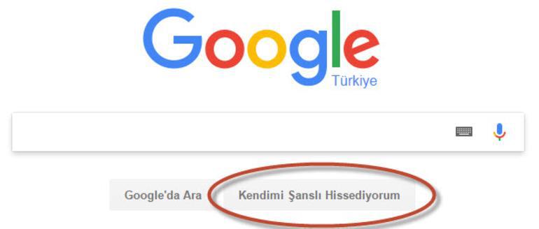 Google arama yerinde kendimi şanslı hissediyorum yazısı ne anlama geliyor