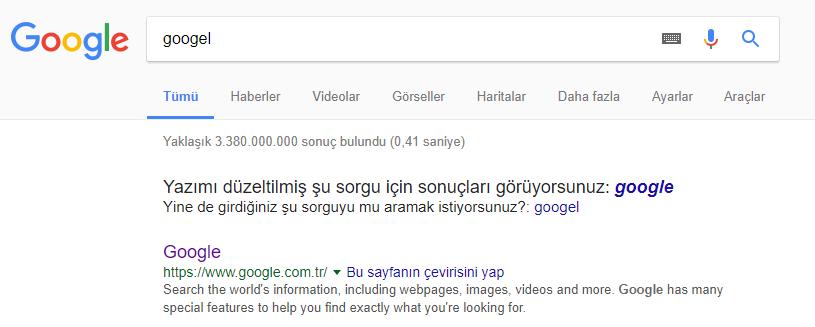 Google nasıl Bunu mu demek istediniz diyor